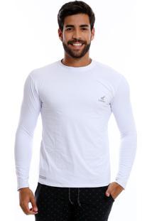 Camisa Uv Masculina Com Proteção Solar Fator 50 Branca Multicolorido