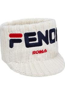 Fendi Fendimania Logo Knitted Headband - Branco