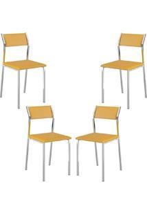 Conjunto 4 Cadeiras Tubo Cromado Napa Amarelo Carraro