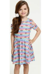 Vestido Infantil Open Shoulder Estampa Minnie Brinde Disney