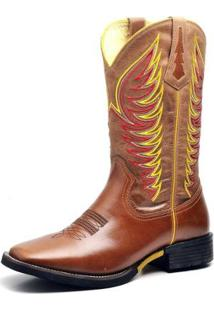 Bota Country Top Franca Shoes Texana Pull Up Masculina - Masculino-Caramelo