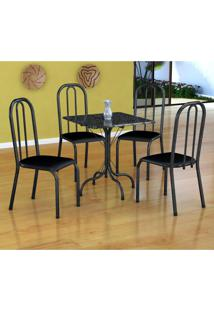 Conjunto De Mesa Malaga Com 4 Cadeiras Madri Preto Prata E Preto Liso