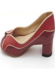 Peep Toe Cristhi Shoes Recorte Salto Baixo Vinho