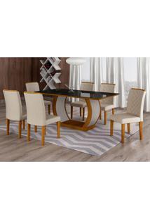 Conjunto De Mesa De Jantar Com Vidro E 6 Cadeiras Maia Ii Veludo Imbuia E Creme