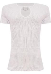 Camiseta Aleatory Mini Print Feminina - Feminino-Branco