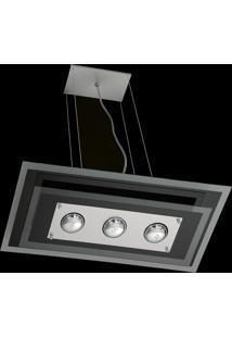 Pendente Saturno Aluminio E Vidro Lmr 141 Escovado Bivolt