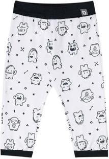 Calça Bebê Luc.Boo Monstrinhos Masculina - Masculino-Branco+Preto