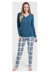 Pijama Feminino Estampa Xadrez Manga Longa Lupo