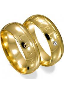 Aliança De Ouro Casamento Com 1 Friso E Lisa - As0921 + As0922 Casa Das Alianças