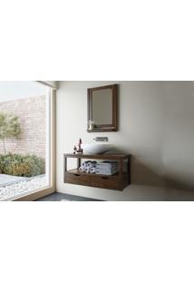 Conjunto De Móveis Para Banheiro - Bancada Suspensa E Moldura De Espelho Em Madeira Maciça Aquiles - Stain Nogueira