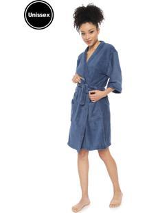 Roupão Porto Franco Kimono Azul-Marinho