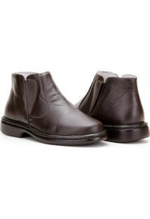 Bota Capelli Boots Couro Fechamento Elástico Masculina - Masculino-Café