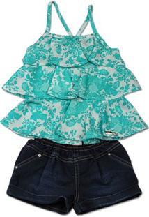 Conjunto Infantil Cetim Estampa Digital Floral E Ã - Feminino-Azul Turquesa