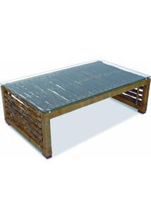 Mesa De Centro Coari Junco Envelhecido Estrutura Alumínio Eco Friendly Design Scaburi