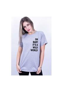 Camiseta Bilhan Corte A Fio Wild World Cinza
