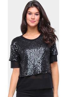 Camiseta Triton Paetês Transparência Feminina - Feminino-Preto