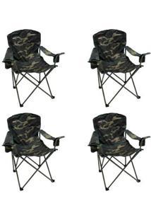 Kit 4 Cadeiras Nautika Dobráveis Com 2 Porta Copos Pandera - Unissex