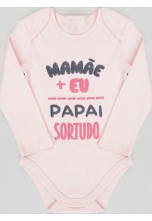 """Body Infantil """"Mamãe E Eu Papai Sortudo"""" Manga Longa Decote Redondo Em Algodão + Sustentável Rosa"""
