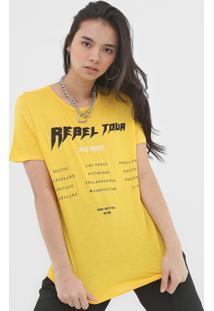 Camiseta Colcci Lettering Amarela - Amarelo - Feminino - Viscose - Dafiti