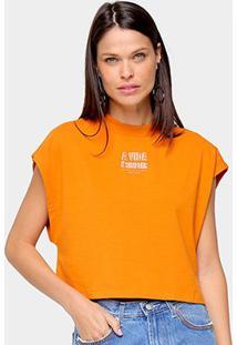 Camiseta Colcci A Vida É Simples Feminina - Feminino-Laranja