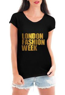 Camiseta Criativa Urbana London Fashion Week Dourada Preto - Kanui