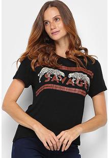 Camiseta T-Shirt Acostamento Savage Manga Curta Feminina - Feminino-Preto