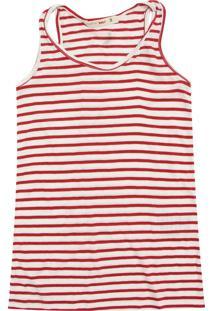 Camiseta Reserva Mini Menina Listrado Vermelho