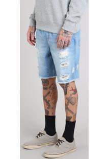 Bermuda Jeans Masculina Destroyed Reta Com Bolsos Azul Claro