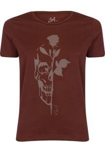 Camiseta Feminina Caveira Com Rosa - Tricae