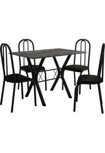 Conjunto De Mesa Miami 4 Cadeiras Preto Fosco/Preto Fabone Móveis Tubulares