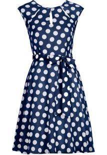 Vestido De Bolinhas Com Laço Azul