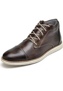 Bota Casual Em Couro Fk Shoes Cano Curto Café