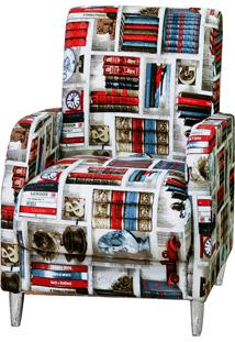 Poltrona Decorativa Fratello Pés Revestidos Em Alumínio Fabiola Estampada Livros Branca