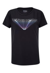 Camiseta Liga Da Justiça Mulher Maravilha Assinatura - Feminina - Preto