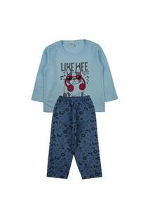 Conjunto Pijama Meninos Blusa Com Estampa Silk Em Moletinho Pv Blusa, E Calça Com Estampa Rotativa