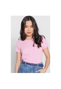 Camiseta Basicamente. Lisa Rosa