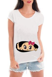 Camiseta Criativa Urbana Gestante Mãe Menina Bebe Espiando - Feminino