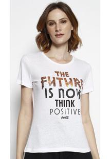 "Camiseta ""The Future"" Com Paetãª- Branca & Laranja Escurococa-Cola"