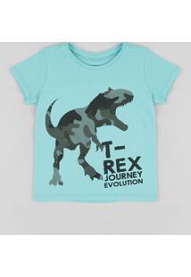 666f0ae6e530e Camiseta Infantil Dinossauro Manga Curta Gola Careca Verde