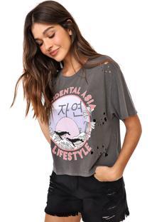 Camiseta Oh, Boy! Ampla Estampada Cinza