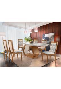 Conjunto De Mesa De Jantar Alvorada Com Vidro 6 Cadeiras Tamara Suede Creme E Off White