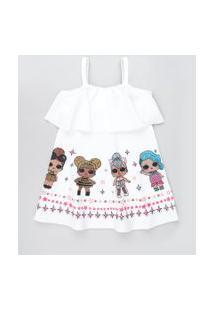 Vestido Infantil Lol Surprise Texturizado Alça Fina Branco