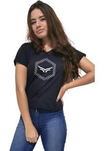 Camiseta Feminina Gola V Cellos Hexagonal Premium Preto