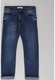 Calça Jeans Infantil Slim Em Algodão + Sustentável Azul Escuro