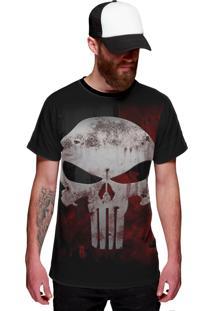 Camiseta Di Nuevo The Punisher Caveira Blood Sangue Preta