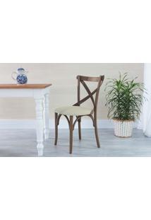 Cadeira X Estofada De Madeira Torneada Com Encosto Anatômico Madeleine - Stain Nogueira - Tec.924 Off White - 50X54,5X86 Cm