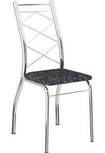 Kit 2 Cadeiras 1710 Tecil Fantasia Móveis Carraro Preto