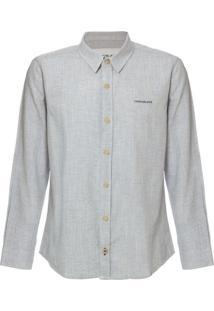 Camisa Ml Ckj Listrada Linen Silk Logo - Azul Claro - 4