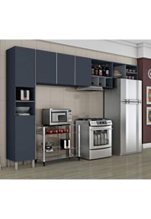 Cozinha Compacta 3 Peças Com Adega Nice Iii Siena Móveis Azul/Cinza