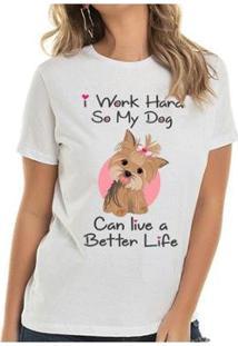 Camiseta Yorkie Girl Buddies Feminina - Feminino-Branco